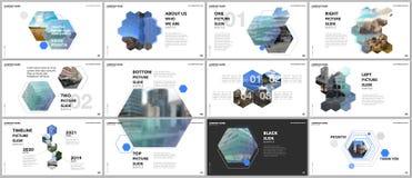 Minimal presentations design, portfolio vector templates with hexagons and hexagonal elements. Multipurpose template for. Presentation slide, flyer leaflet stock illustration