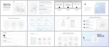 Minimal presentations, portfolio templates. Blue color elements. On white. Brochure cover vector design. Presentation slides for flyer, leaflet, brochure Stock Images