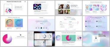 Minimal presentations, portfolio templates with geometric patterns, gradients, fluid shapes on white. Brochure cover. Vector design. Presentation slides for vector illustration