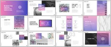 Minimal presentations, portfolio templates. Blue elements on a white background. Brochure cover vector design. Presentation slides for flyer, leaflet, brochure Stock Images