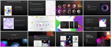 Minimal presentations, portfolio templates with vibrant geometric backgrounds made simple shapes in hipster style stock illustration