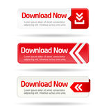 Minimal red download now button collection Stock Photos