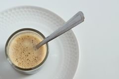 Minimal refreshment coffee break. Iced coffee on table. Space for text Royalty Free Stock Photos