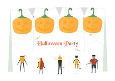 Minimal scary scene for halloween day, 31 October, with monsters. That include cat woman, glass, pumpkin man, frankenstein, umbrella. Vector illustration stock illustration