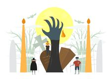 Minimal scary scene for halloween day, 31 October, with monsters. That include dracula, pumpkin man, frankenstein. Vector illustration isolated on white vector illustration