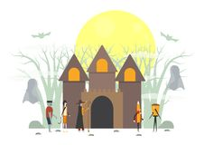 Minimal scary scene for halloween day, 31 October, with monsters. That include glass, frankenstein, umbrella, witch woman, cat. Vector illustration isolated on stock illustration