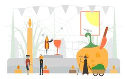 Minimal scary scene for halloween day, 31 October, with monsters. That include glass, pumpkin man, frankenstein, umbrella, witch woman. Vector illustration royalty free illustration