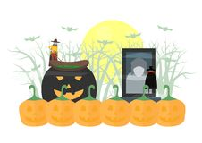 Minimal scary scene for halloween day, 31 October, with monsters. That include dracula, witch woman. Vector illustration isolated on white background royalty free illustration