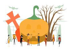 Minimal scene for halloween day, 31 October, with monsters that. Include dracula, glass, pumpkin man, frankenstein, umbrella, cat, joker, witch woman. Vector stock illustration