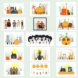 Minimal scene for halloween day, 31 October, with monsters that include dracula, glass, pumpkin man, frankenstein, umbrella, cat,. Joker, witch woman. Vector royalty free illustration