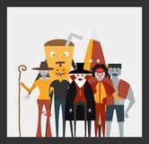 Minimal scene for halloween day, 31 October, with monsters that. Include dracula, glass, pumpkin man, frankenstein, umbrella, joker, witch woman. Vector vector illustration
