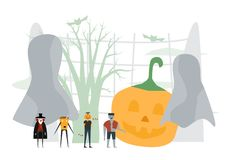 Minimal scene for halloween day, 31 October, with monsters that. Include dracula, pumpkin man, frankenstein. Vector illustration isolated on white background vector illustration