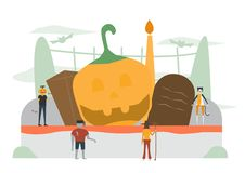 Minimal scene for halloween day, 31 October, with monsters that. Include pumpkin man, frankenstein, cat, witch woman. Vector illustration isolated on white stock illustration