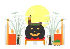Minimal scene for halloween day, 31 October, with monsters that. Include witch woman. Vector illustration isolated on white background vector illustration