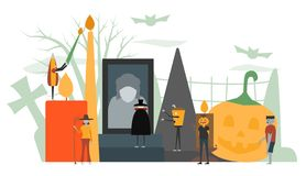 Minimal scene for halloween day, 31 October, with monsters that. Include dracula, glass, pumpkin man, frankenstein, umbrella, witch woman. Vector illustration vector illustration