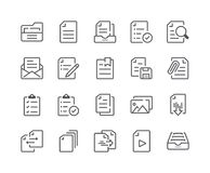 Minimal Set of Document and File Line Icons. Editable Stroke. 48x48 Pixel Perfect Stock Photo