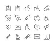 Minimal Set of Medical and Health Line Icons. Editable Stroke. 48x48 Pixel Perfect Stock Photos