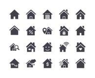 Minimal Set of Smart Home Glyph Icons. Pixel Perfect Stock Photo