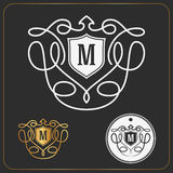 Minimal and simple monogram initials design Royalty Free Stock Photography