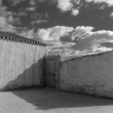 Minimal square. A minimalistic composition with sky and walls Stock Photo