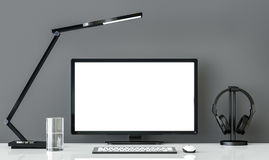 Minimal style  black and white working desk with gray wall 3d rendering image Royalty Free Stock Image