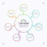 Minimal style circle infographic template with 7 options. Editable stroke. Vector illustration Royalty Free Stock Images