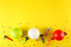 Birthday party kit with copy space. stock photo
