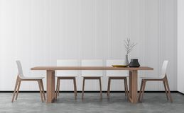 Minimal style dining room 3d rendering image. There are concrete floor,Decorate wall with white wood lattice and finished with wood furniture vector illustration