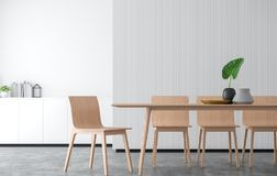 Minimal style dining room 3d rendering image. There are concrete floor,Decorate wall with white wood lattice and finished with wood furniture Stock Images