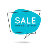 Minimal style flat speech bubble shaped banner, price tag, stick Royalty Free Stock Images