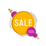 Minimal style flat trendy bubble shaped banner, price tag, stick Royalty Free Stock Photos