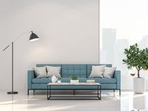 Minimal style living room with city view 3d render. Decorate with blue fabric and black metal furniture ,The room has large windows,Sunlight shines into the stock illustration