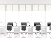 Minimal style office with bay window 3d render. There are white floorl.Furnished with black furniture .There are large windows looking out to see the scenery Royalty Free Stock Image