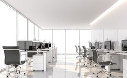 Minimal style office 3d render. There are white floor and glossy wall.Furnished with black furniture .There are large windows looking out to see the scenery Stock Image