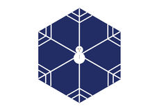 Minimal style snowman snowflake in hexagon shape on blue background. Creative / minimal style snowman snowflake in hexagon shape on blue background inspired by Royalty Free Stock Photos