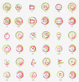 Minimal thin line design web icon set, stamps Royalty Free Stock Photography