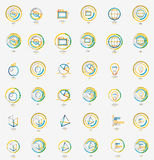 Minimal thin line design web icon set, stamps Royalty Free Stock Image