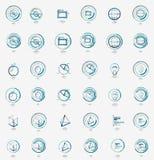 Minimal thin line design web icon set, stamps Royalty Free Stock Photos