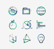 Minimal thin line design web icon set Royalty Free Stock Photo