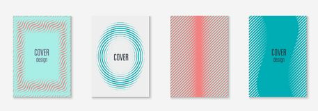 Minimalistic cover template set with gradients. Minimal trendy cover template set. Futuristic layout with halftones. Geometric minimal cover template for book royalty free illustration