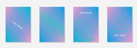 Minimal trendy covers. Vector halftone gradients. Geometric future template for flyer, poster, brochure and invitation. Minimalistic colorful cover. Set of EPS Royalty Free Stock Photo
