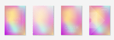Minimal trendy covers. Vector halftone gradients. Geometric future template for flyer, poster, brochure and invitation. Minimalistic colorful cover. Set of EPS Stock Photo
