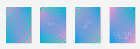 Minimal trendy covers. Vector halftone gradients. Geometric future template for flyer, poster, brochure and invitation. Minimalistic colorful cover. Set of EPS Stock Image