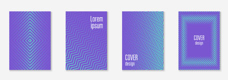 Minimal trendy covers. Vector halftone gradients. Geometric future template for flyer, poster, brochure and invitation. Minimalistic colorful cover. Set of EPS Royalty Free Stock Photography