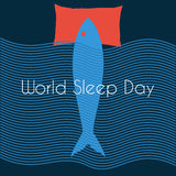 Minimal vector concept for world sleep day Royalty Free Stock Photos
