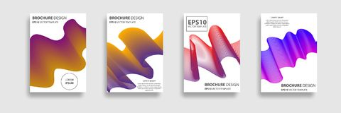 Minimal Vector covers design. Minimal covers set. Abstract 3d meshes. Covers with minimal design. Brochure. Geometric halftone gradients. Applicable for Stock Images