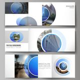 The minimal vector editable layout of square format covers design templates for trifold brochure, flyer, magazine. Creative modern blue background with circles vector illustration