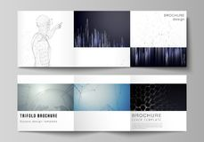 The minimal vector editable layout of square format covers design templates for trifold brochure, flyer, magazine. Technology, science, future concept abstract Royalty Free Stock Image