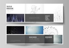 The minimal vector editable layout of square format covers design templates for trifold brochure, flyer, magazine. Technology, science, future concept abstract Stock Image