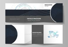 The minimal vector editable layout of two square format covers design templates with simple geometric background made. From dots, circles, rectangles for vector illustration